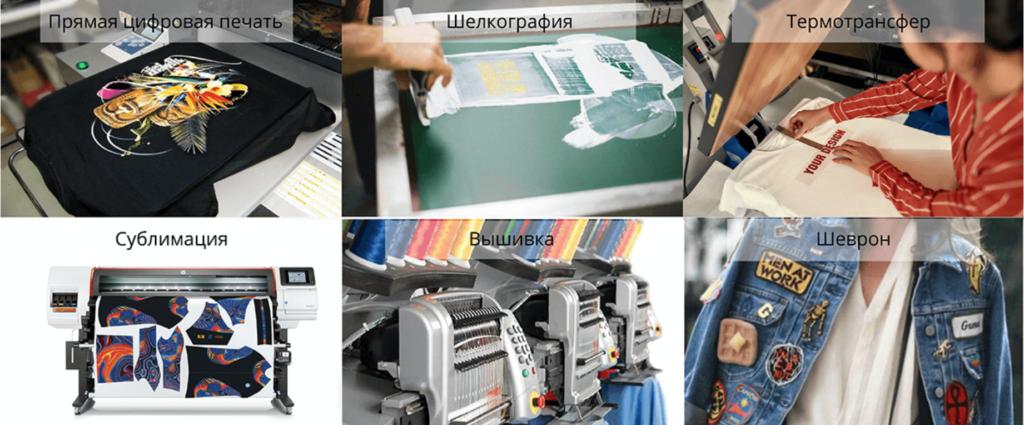 виды нанесения на ткани: цифровая печать, шелкография, термотрансфер, сублимация, вышивка, шеврон