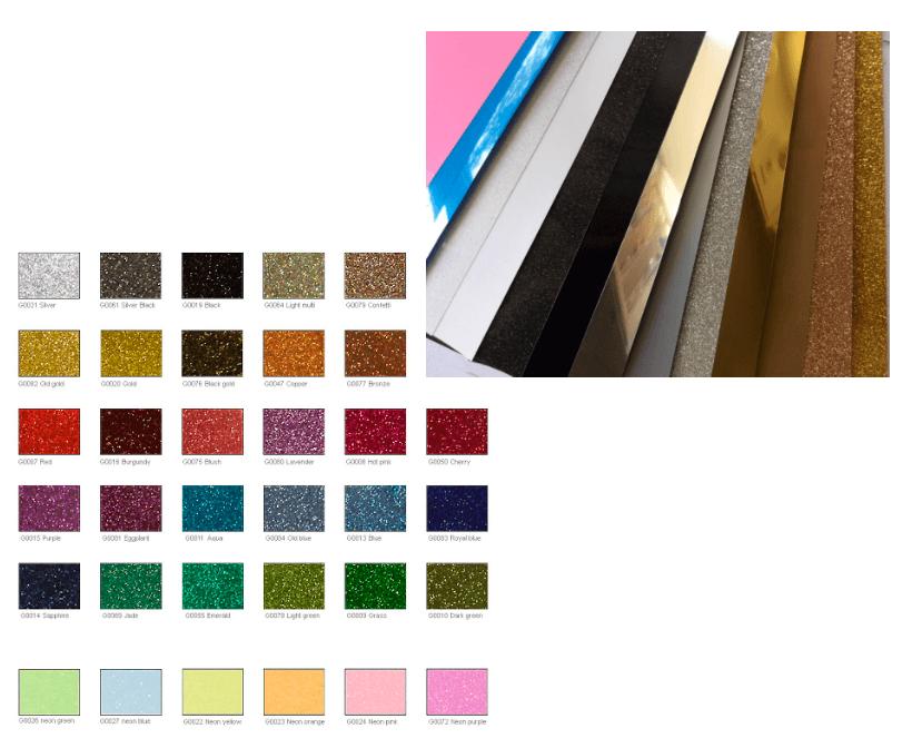 розкладка кольорів плівки для термопереносу на одязі
